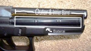 Posisi baterai airsoft pistol elektrik CYMA cm-030
