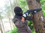 counter attack behind a tree