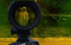 Pocong in red dot sight