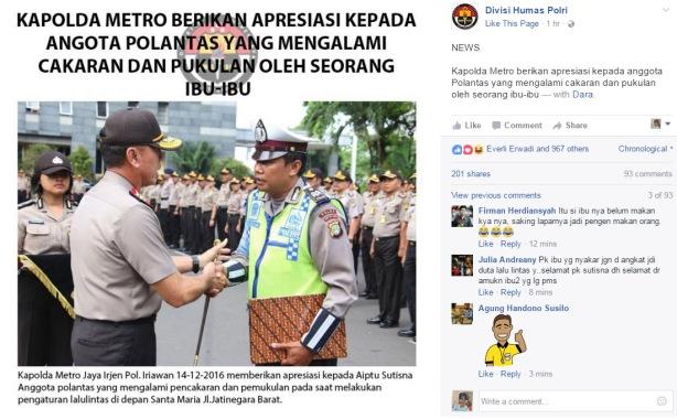 polisi korban-cakaran-ibu2 diberi penghargaan oleh kapolda metro jaya